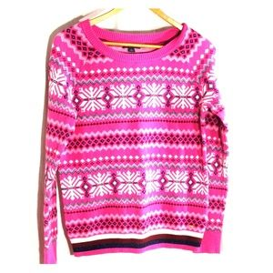 Tommy Hilfiger pink scoop neck snowflake sweater